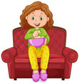 little girl eating snack on chair vector image