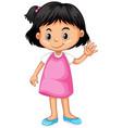 little girl waving hand hello vector image vector image