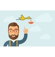 Man pointing the bird with basket icon vector image
