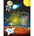 Maze game with astronaut in space vector image