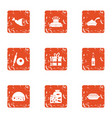 medieval dinner icons set grunge style vector image