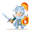 medieval female knight woman warrior girl fantasy vector image vector image
