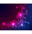 neon background with flowers and stars vector image vector image