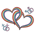 Rainbow hearts with gay symbols vector image