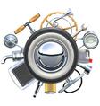 Retro Car Parts Concept vector image vector image