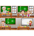 Science classrooms with teachers vector image