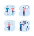 set businesswomen and businessmen with suitcase vector image