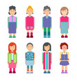 set females characters in flat design vector image