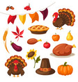set happy thanksgiving day objects and icons vector image