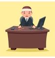 Sick Ill Businessman character work office desktop vector image vector image