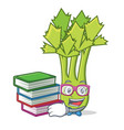student with book celery mascot cartoon style vector image vector image