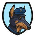 the logo depicting the head of a doberman cop vector image