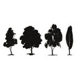 tree set floral elements nature hand drawn vector image