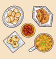 various oriental sweets cartoon collection vector image vector image