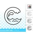 water wave simple black line splash icon vector image vector image