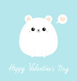 white bear icon happy valentines day funny head vector image