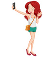 Woman taking picture with cellphone vector image vector image