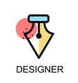 fountain pen nib icon for designer on white vector image