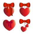 Four heart charms with bows vector image