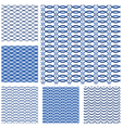 Set of seamless patterns - blue waves and grids vector image