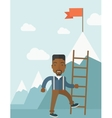 African man holding a ladder step for success vector image