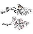 Artistic sketch of bird on a branch vector image vector image
