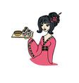 asian girl enjoys sushi