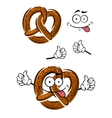 Cartoon pretzel with a happy smiling face vector image vector image