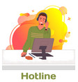 character male call center hotline online vector image vector image