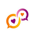 chat love heart communication logo vector image vector image