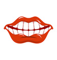 Cheerful smile Red lips and white teeth Open mouth vector image