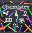 chemistry elements on blackboard vector image vector image