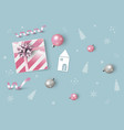 christmas and new year design pink gift box vector image vector image