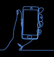 continuous line hand holding smartphone neon vector image