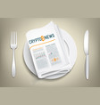crypto currency newspaper on plate vector image vector image