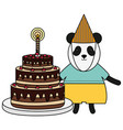cute bear panda sweet cake in birthday party vector image vector image