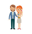 cute couple parents carrying her baby vector image vector image