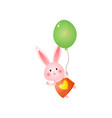 cute pink easter bunny with balloon isolated on vector image