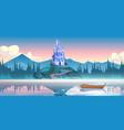 fantasy blue castle on rock at morning vector image