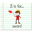 Flashcard letter S is for sword vector image vector image