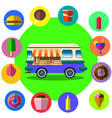 food truck among palm trees on tropical beach vector image