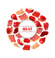 fresh meat cuts poster for food theme design vector image vector image