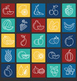 fruit icons set on color squares background for vector image