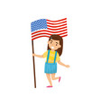 girl holding national flag of united states of vector image vector image