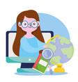 happy teachers day teacher computer online learn vector image vector image