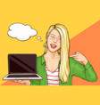 happy woman offering laptop cartoon vector image vector image