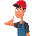 happy worker in uniform holding thumbs up vector image vector image