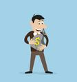 joyful businessman holding a money bag in his vector image vector image