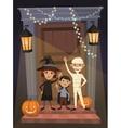 Kids in Halloween festive design concept vector image