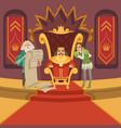 king on throne and his retinue cartoon vector image vector image